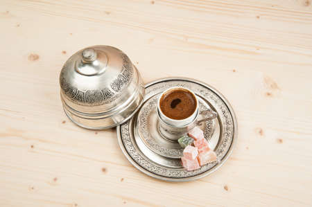 turkish coffee: Turkish coffee and turkish delight Stock Photo