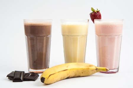 Banana, strawberries and chocolate milkshake photo