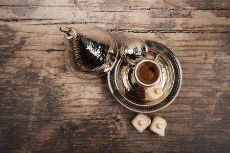 Turkse koffie en Turkish Delight Stockfoto