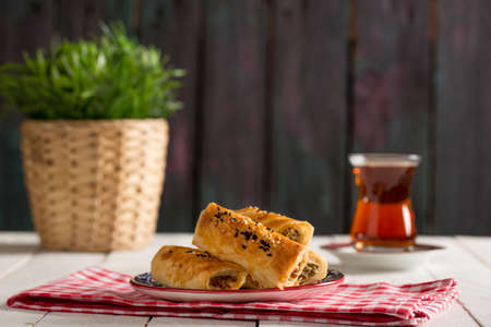Tasty Pastry Borek and Tea Stock Photo
