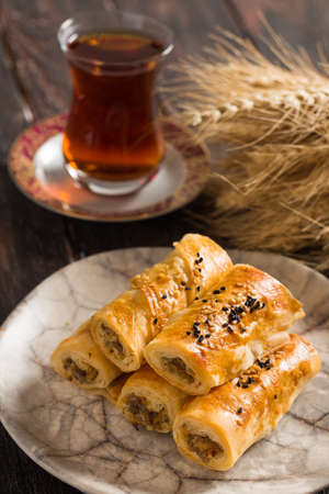 Tasty Pastry Borek and Tea Stock Photo