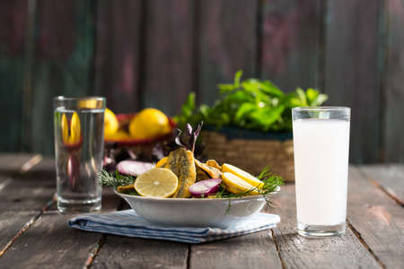 Turkish Raki, Ouzo and Fried Fish Stock Photo - 88108861
