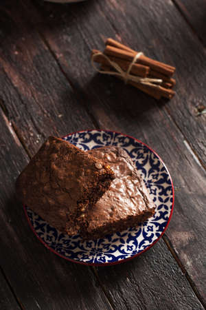 Delicious Brownie on Wooden Table Stock Photo