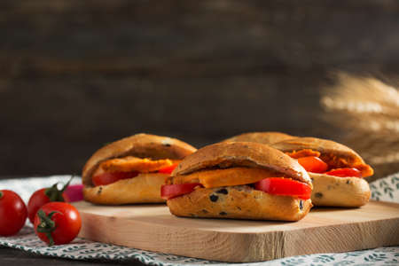 Delicious Mini Sandwiches with Olive Bread