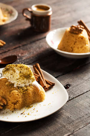 Traditional Semolina Dessert Semolina Helvas? Stock Photo