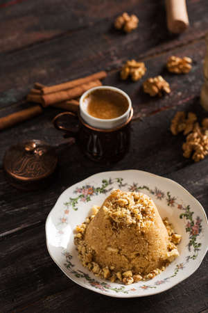 Traditional Semolina Dessert Semolina Helvas? Stock Photo