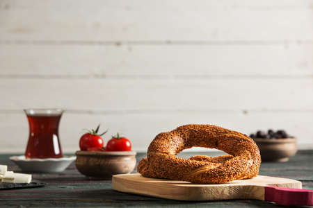 Turkish Simit Bagel on Rustic Table