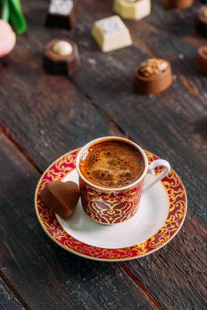 Turkish Coffee and Heart Shaped Chocolate