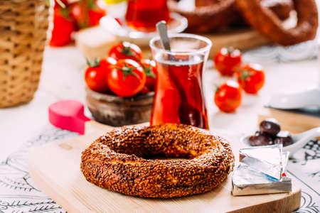 Turkish Simit Bagel on Rustic Table