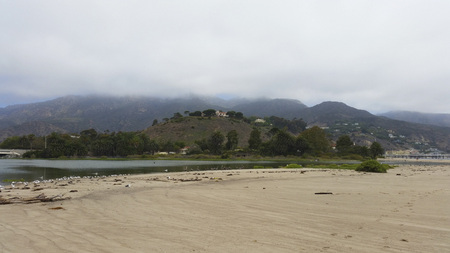 Close up of Malibu Beach Lagoon coastline bird sanctuary on a cloudy day Stock Photo