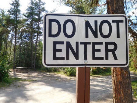 do not enter: Do Not Enter Sign at a Campground Stock Photo