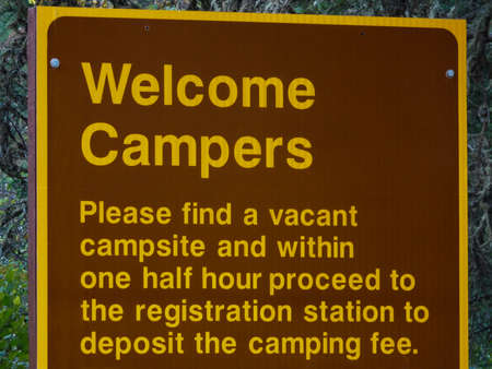 provincial tourist area: Campers Welcome Sign with Registration Rules