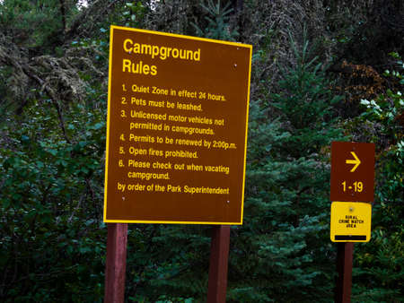 provincial tourist area: Campground Rules Sign