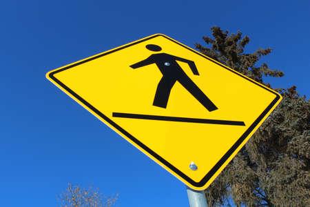 rhomb: Crosswalk on a Yellow Diamond Sign Stock Photo