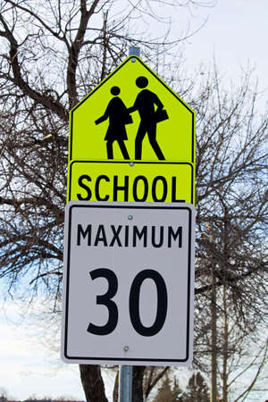 School Zone Sign with Maximum Speed Limit