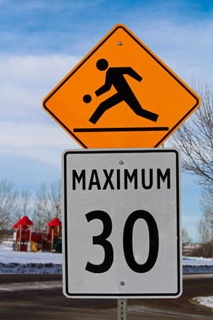 Playground Zone with Maximum Speed Limit Sign