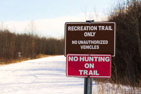 Recreational Trail and No Hunting Sign