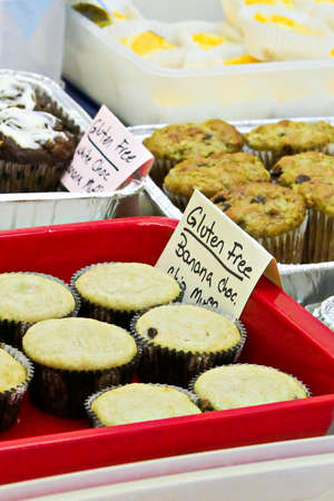 Gluten free options at a bake sale. Stock Photo