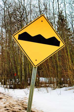 washboard: Warning rough road ahead sign. Stock Photo