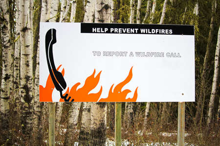 reminding: Helping prevent wildfire sign by reminding to call.