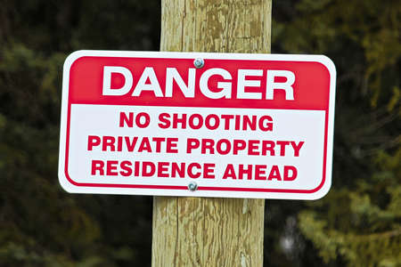 residence: No shooting sign indicating private residence ahead. Stock Photo