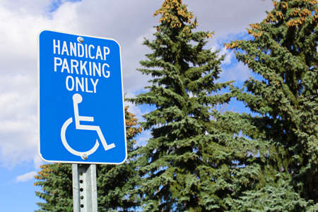 Handicap parking sign with trees in the background.