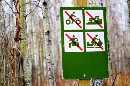 No recreational vehicles sign along a campsite road. Editorial