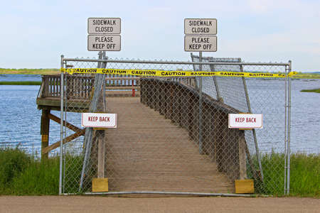 A lookout boardwalk closed due to safety issues.
