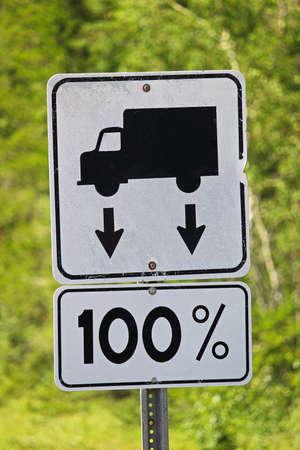 enforce: Closeup of a 100% weight allowance road sign.