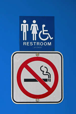braille: A no smoking sign at a rest stop.