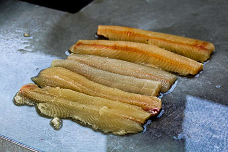 Fillets of northern pike prior to having y-bones removed. Stock Photo