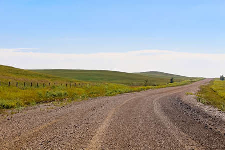 A gravel road through Alberta farmland and hills.