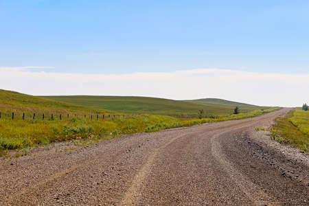 Uma estrada do cascalho através da terra e dos montes de Alberta.