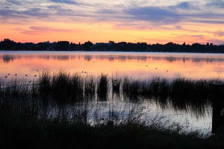 Morning sunrise over Jessie Lake, Bonnyville Alberta. Stock Photo