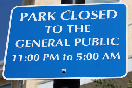 Park closed to the general public sign.