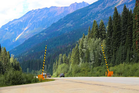 Road barriers on a mountainous road in summer.