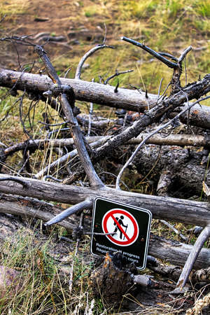Restoration in progress signs on temporarily closed trails. Stock Photo