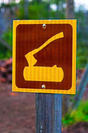 A firewood area sign at a campground Stock Photo