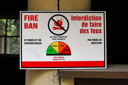 A Fire Ban Order by Superintendent sign Stock Photo