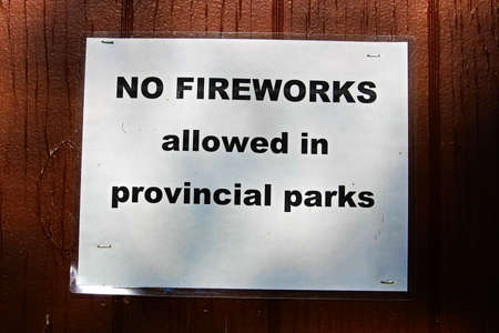 A No Fireworks Allowed in Provincial Parks sign Stock Photo