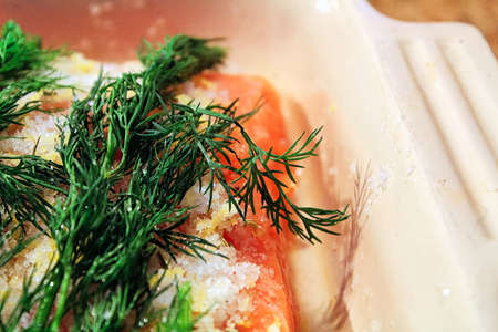Close-up of dill on a gravlax portion