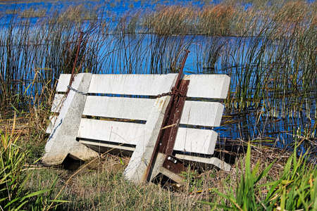 A cement bench flooded out and sinking into a marsh