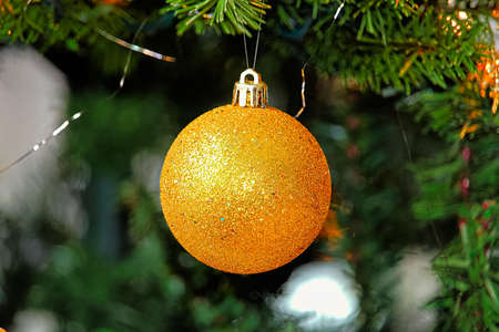 A Christmas ball ornament hanging in a tree Stock Photo