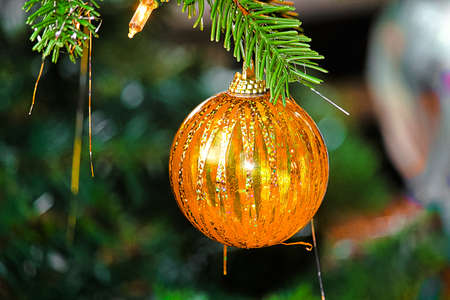 A Christmas ball ornament hanging in a tree 版權商用圖片