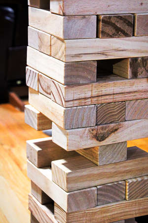 The wooden blocks of a building game Stock Photo