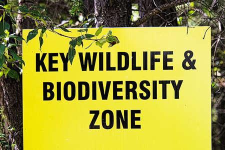 A key wildlife and biodiversity zone sign Stock Photo