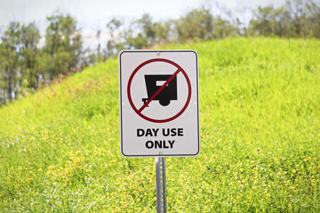 A day use only, no camping sign.