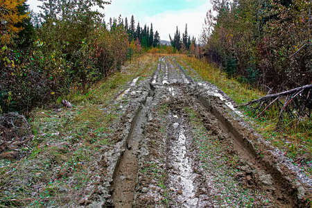 A muddy road with ruts in a cutline Stock Photo