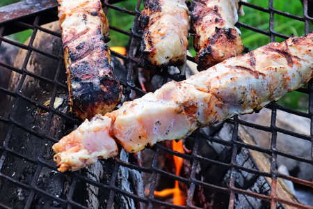 Closeup view of raw chicken meat on a BBQ