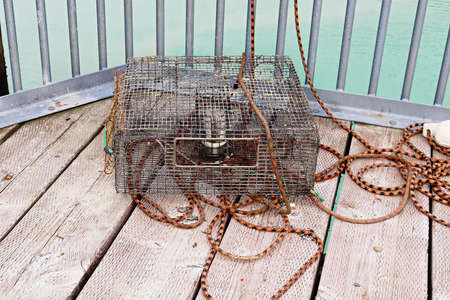 A crab pot lays on a deck with ropes Stok Fotoğraf